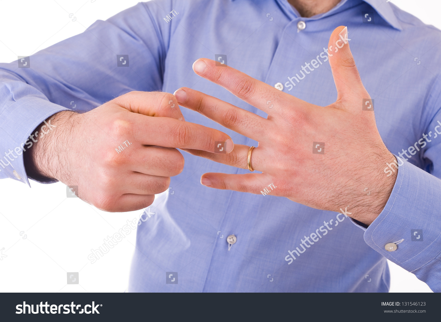 Young Man Indicating Wedding Ring Stock Photo (Royalty Free ...