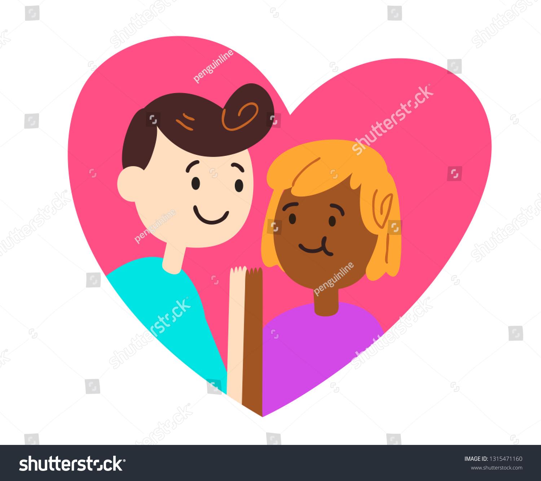 Vector illustration of a cartoon couple holding hands inside a heart
