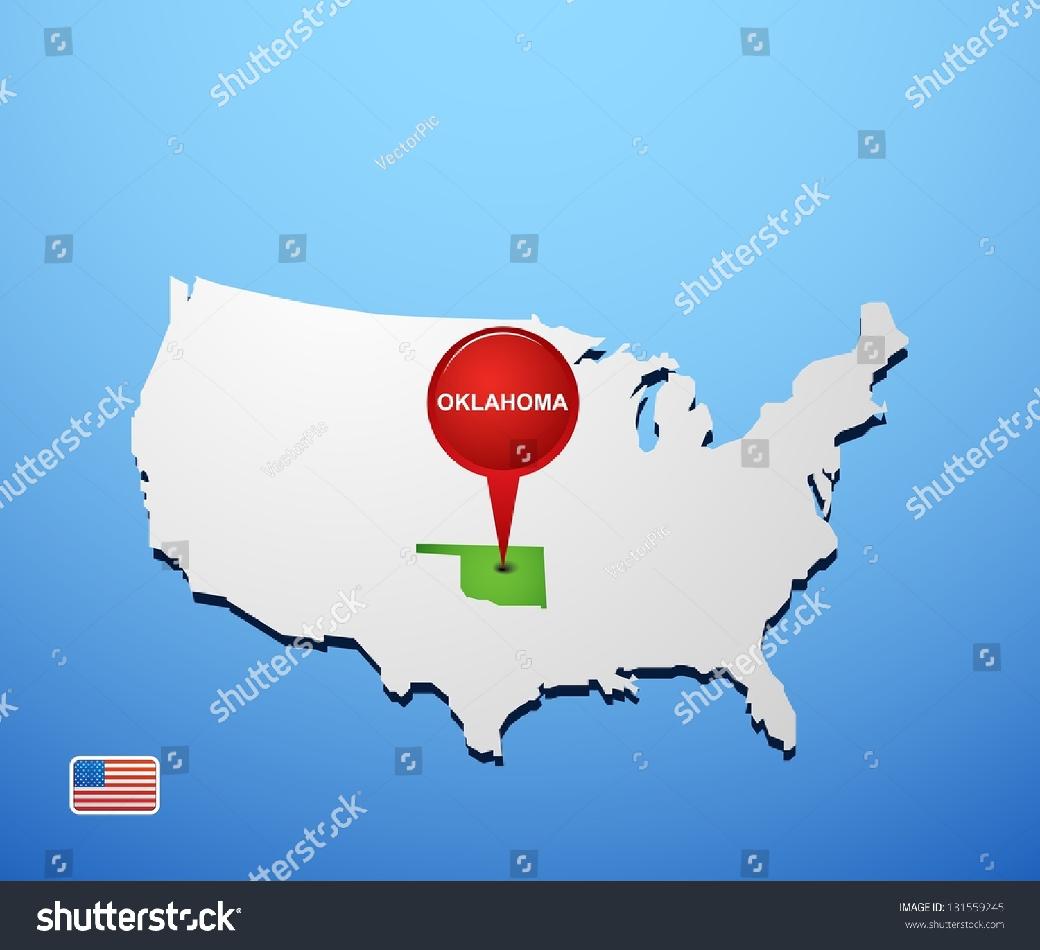 Oklahoma On Usa Map Stock Vector Shutterstock - Usa map with oklahoma
