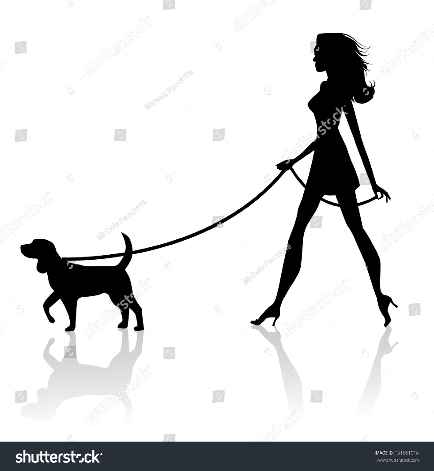 clipart girl walking dog-#25