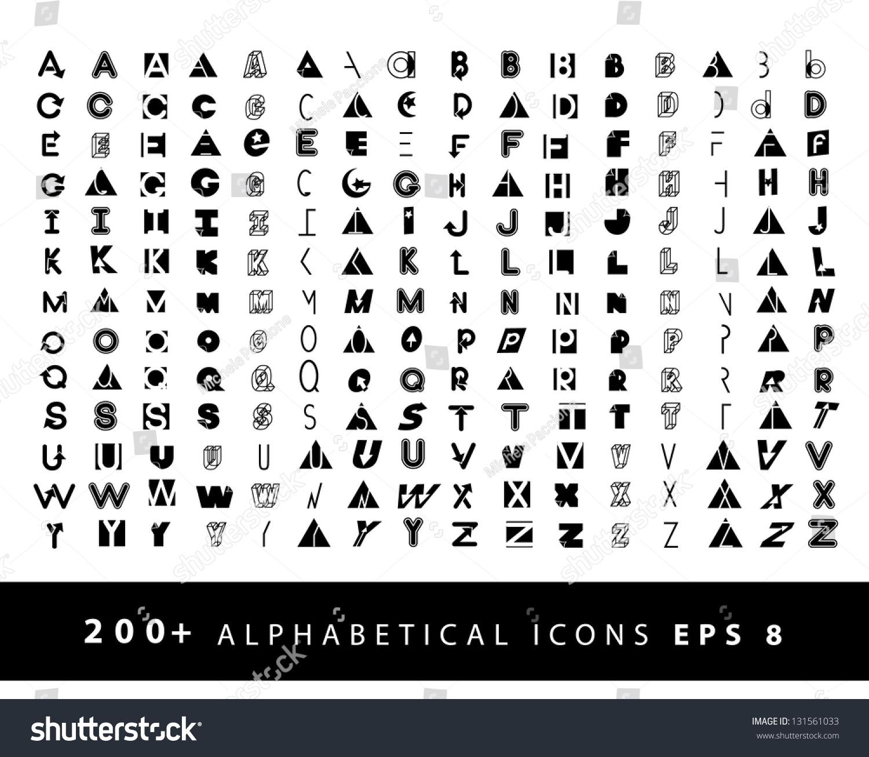 more than 200 alphabetical icons symbol alphabet a through z  eps 8 vector  grouped for easy