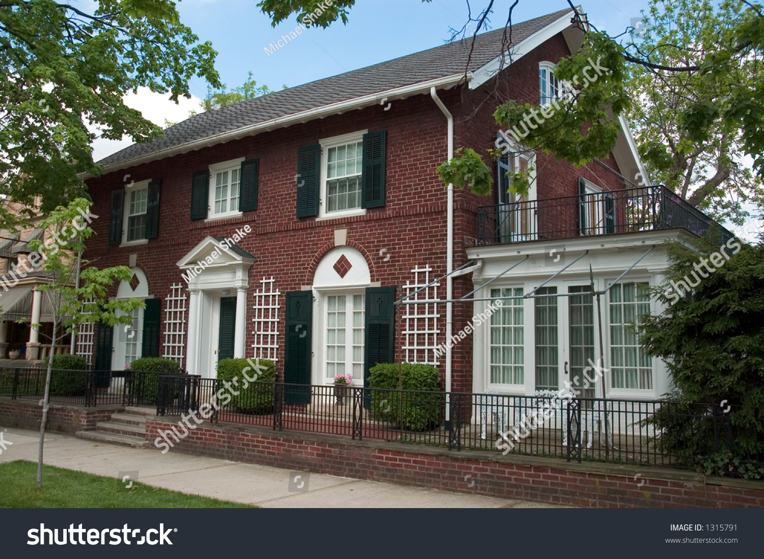 Red Brick Colonial Architecture Style This Stock Photo