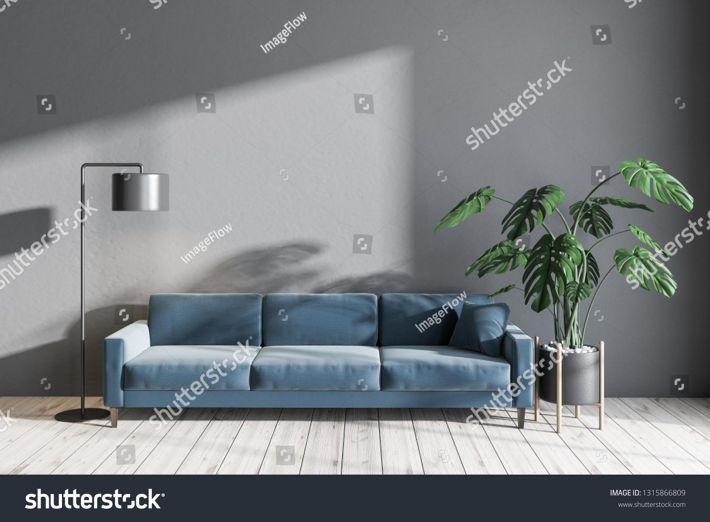Interior Minimalistic Living Room Gray Walls Stock Illustration 1315866809