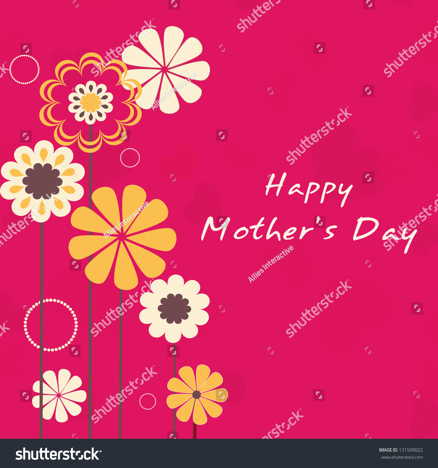Creative Floral Flyer Of Happy Mothers Day Template For: Beautiful Floral Decorated Background, Banner Or Flyer For