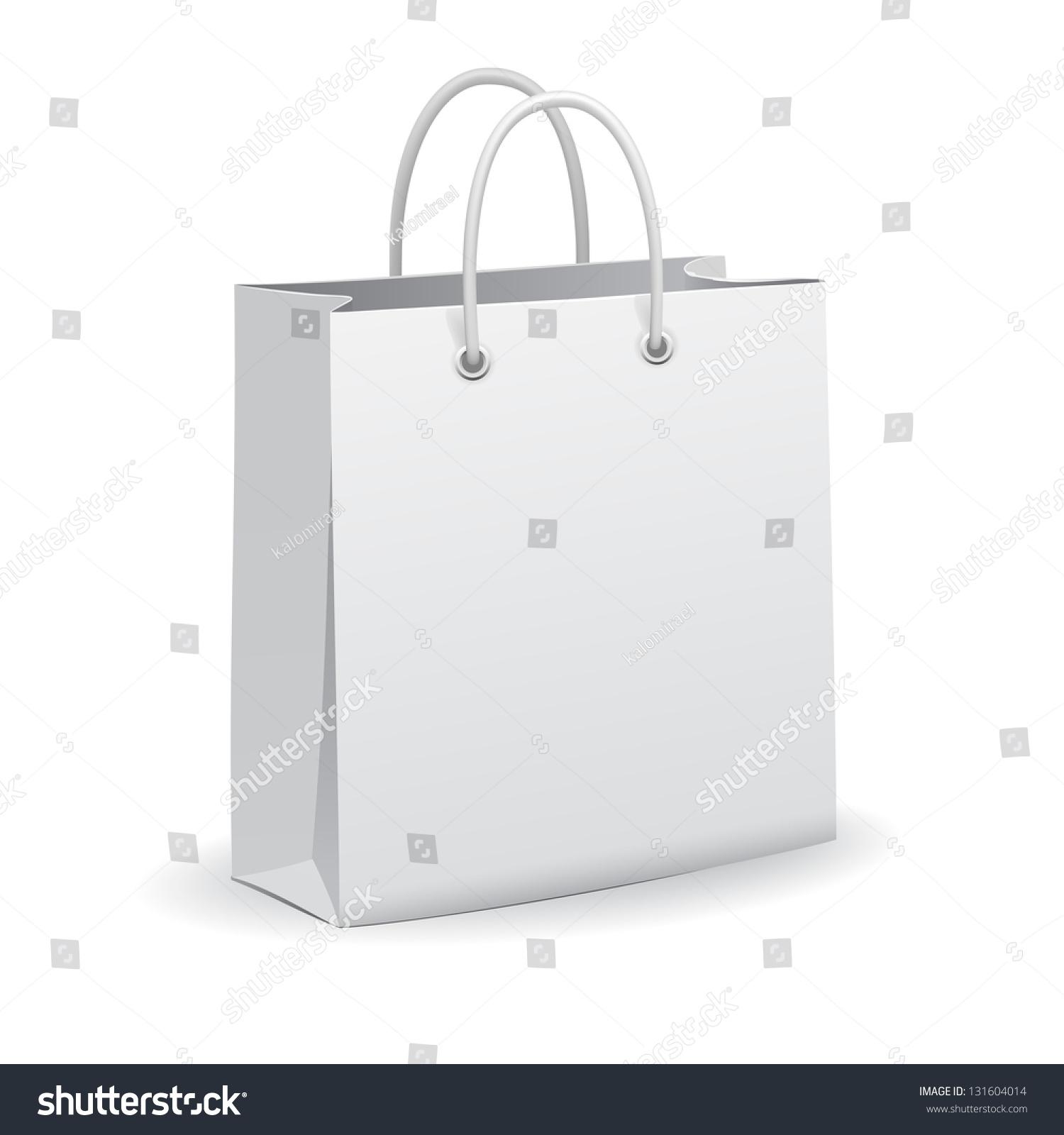 Paper bag vector - White Empty Paper Shopping Bag Vector