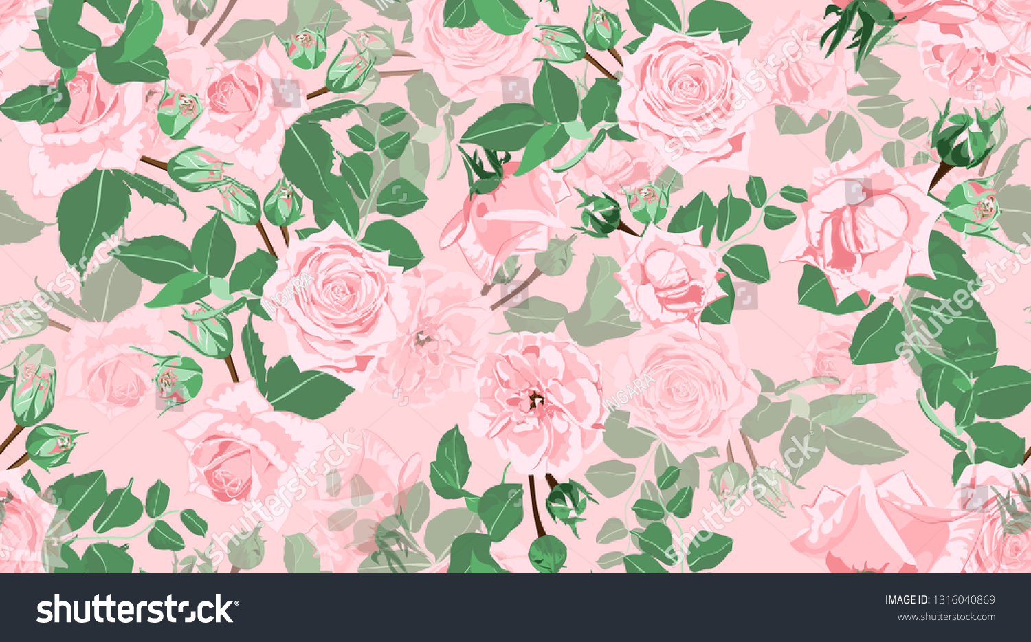 Wedding Pattern Roses Floral Background Vintage Royalty Free