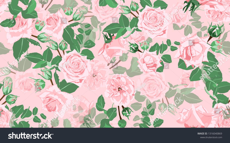 Wedding Pattern Roses Floral Background Vintage Royalty Free
