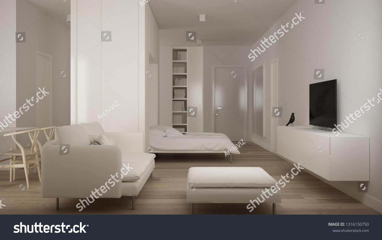 Small Apartment Parquet Floor Murphy Bed Stock Illustration 1316150750