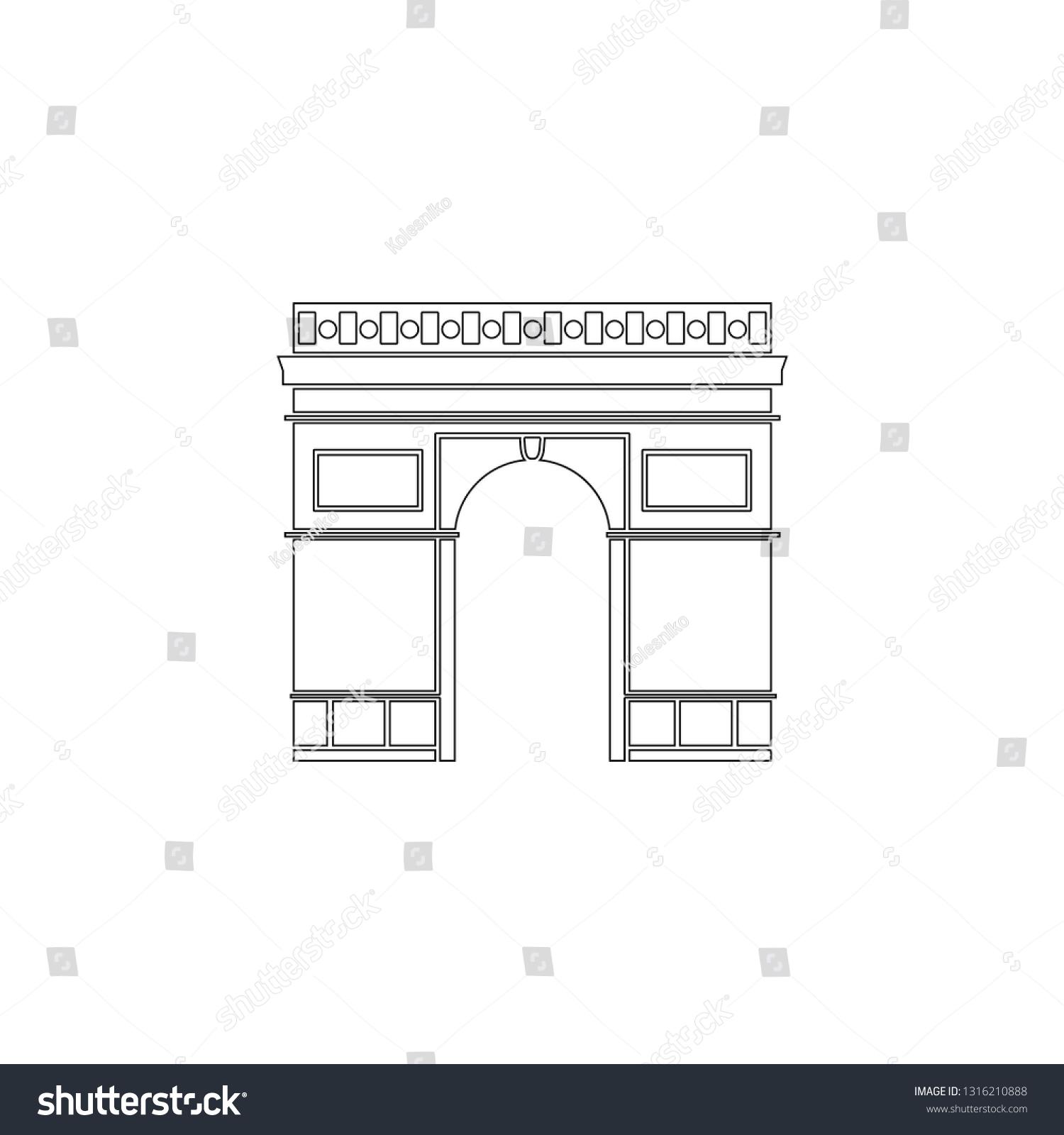 triumphal arch in paris france  simple flat vector icon illustration   outline line symbol -