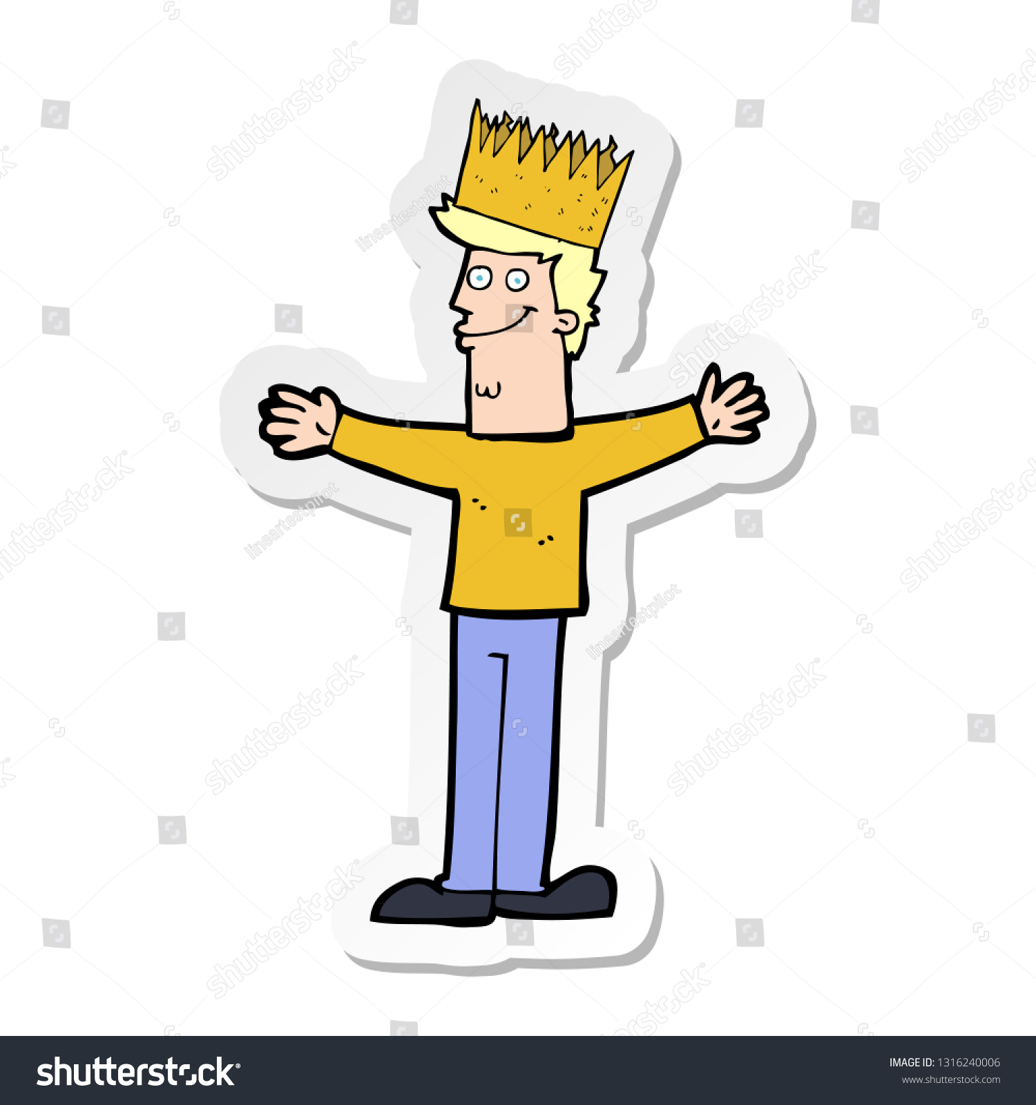 Sticker Cartoon Man Wearing Crown Stock Vector Royalty Free 1316240006 See what cartoon crown (cartooncrown) has discovered on pinterest, the world's biggest collection of ideas. https www shutterstock com image vector sticker cartoon man wearing crown 1316240006