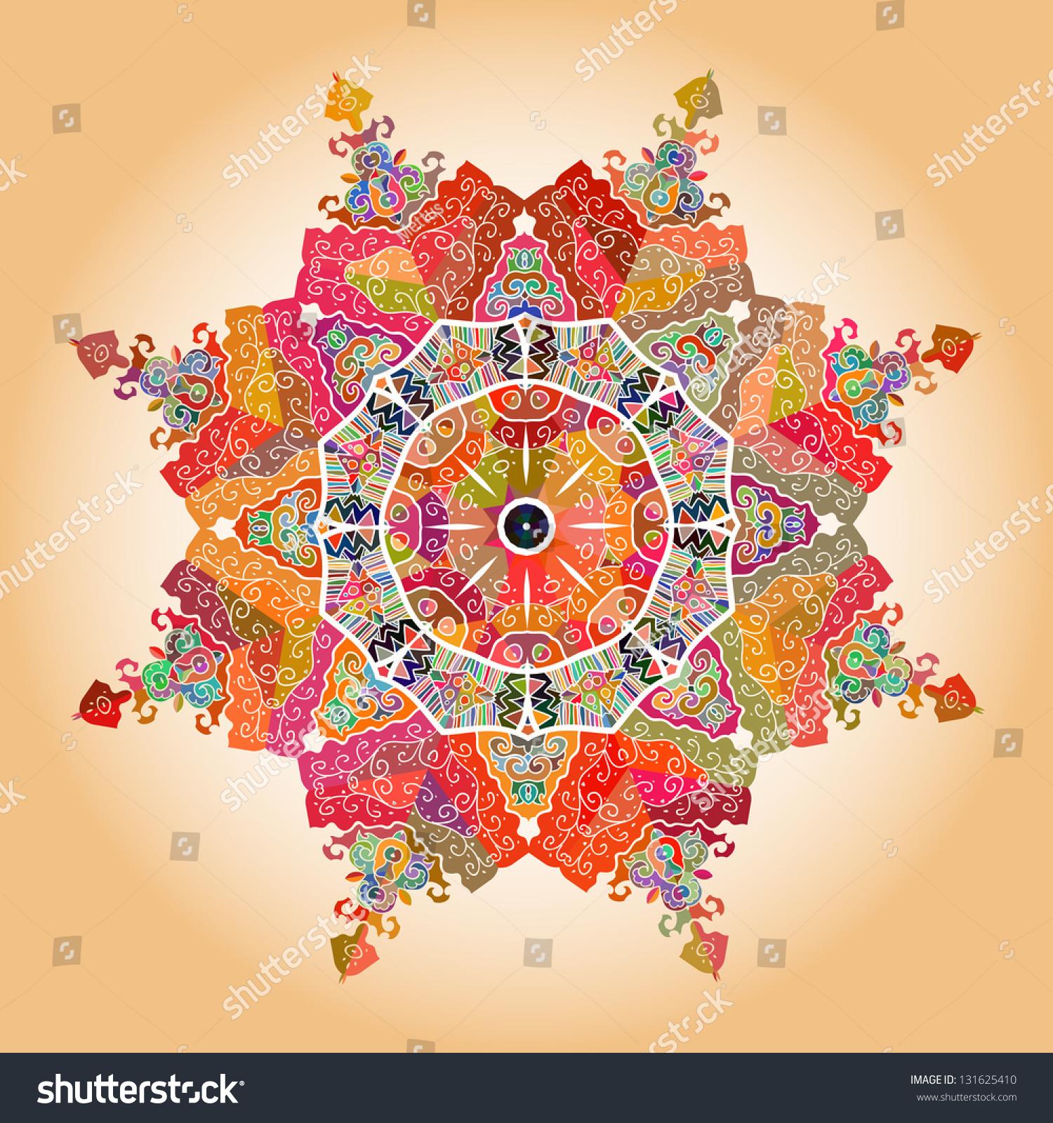 oriental mandala motif round lase pattern stock illustration 131625410 shutterstock. Black Bedroom Furniture Sets. Home Design Ideas