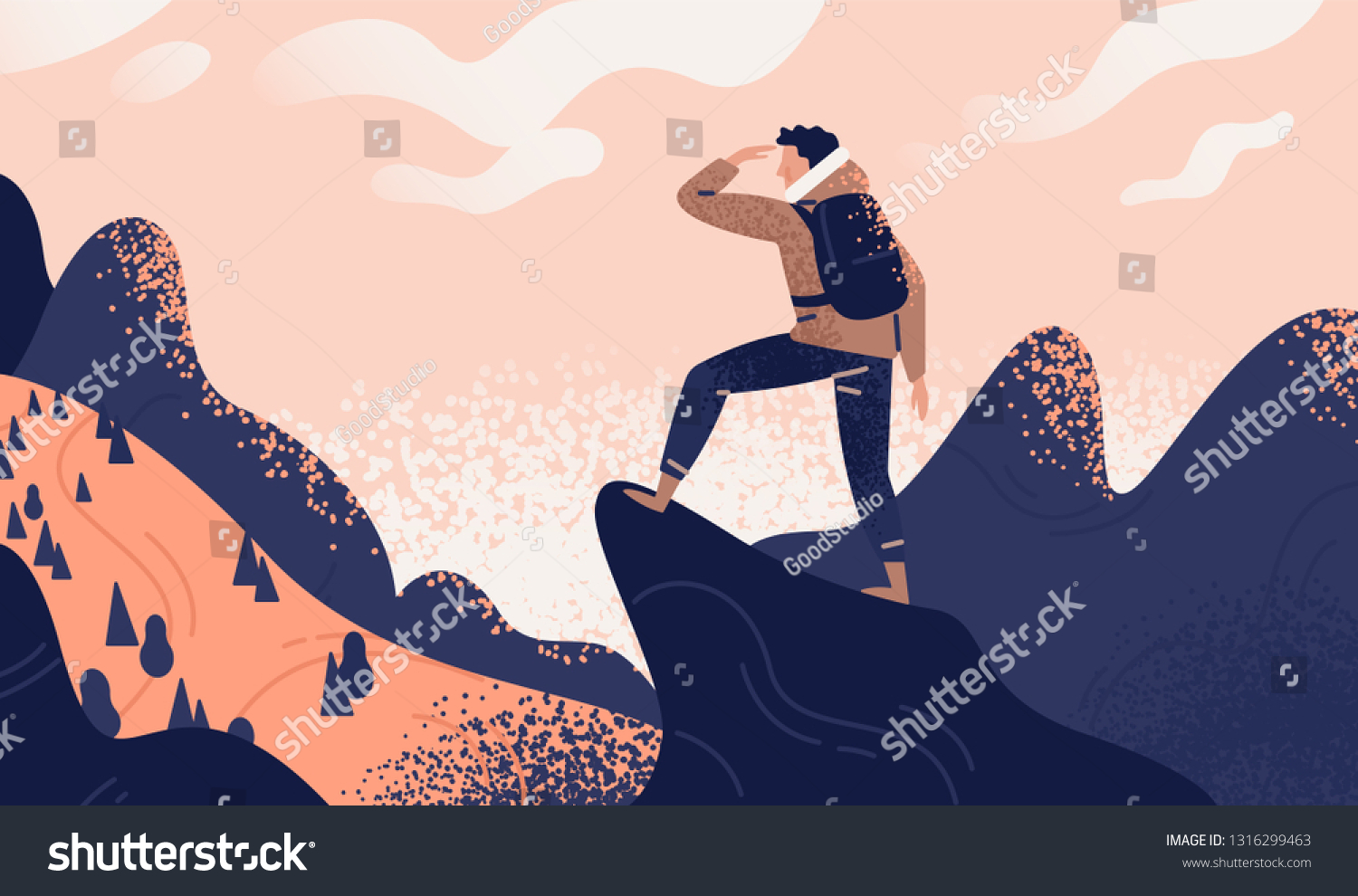 Man with backpack, traveller or explorer standing on top of mountain or cliff and looking on valley. Concept of discovery, exploration, hiking, adventure tourism and travel. Flat vector illustration.