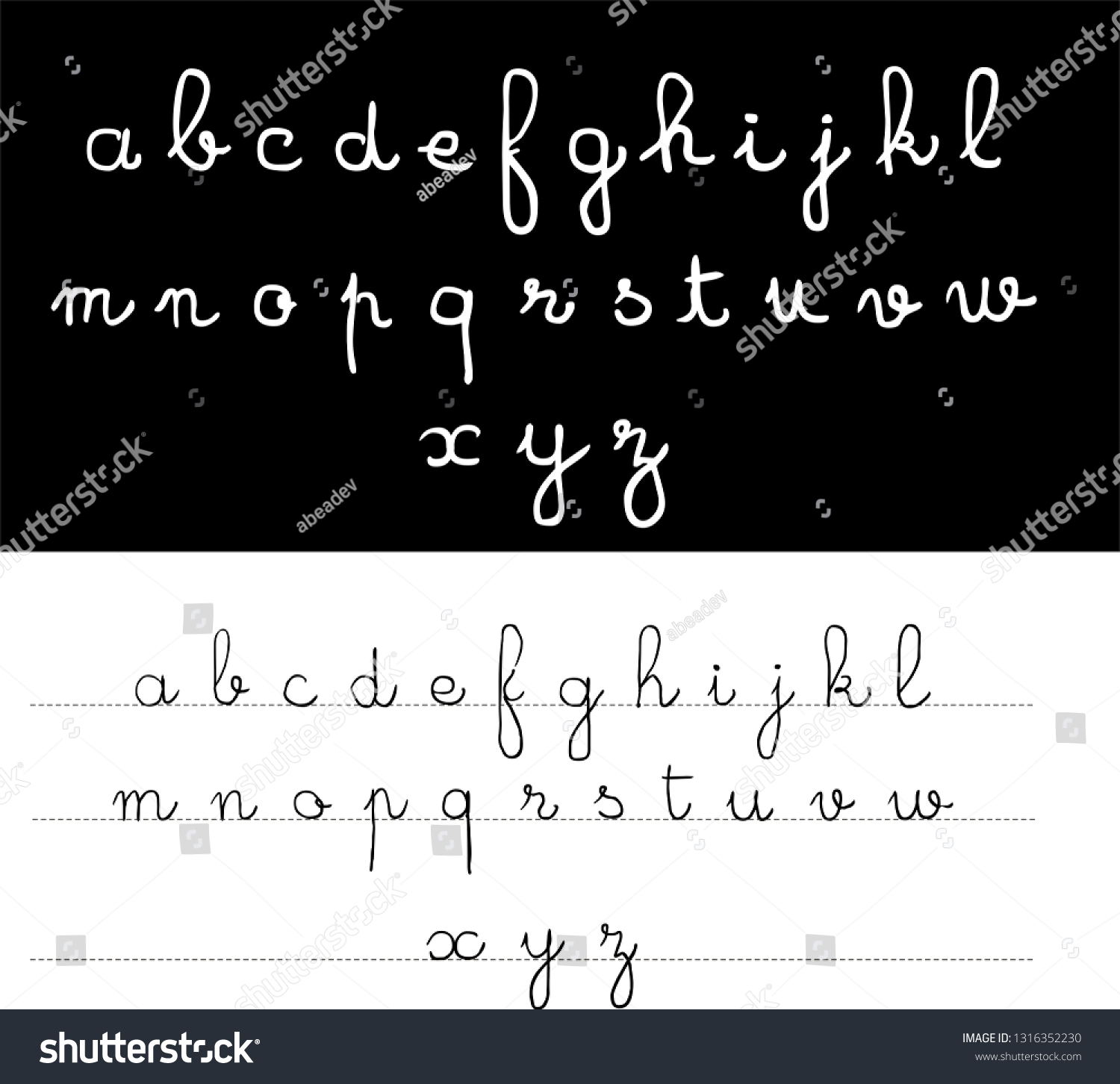 Handwritten Old School Script Font Latin Stock Vector
