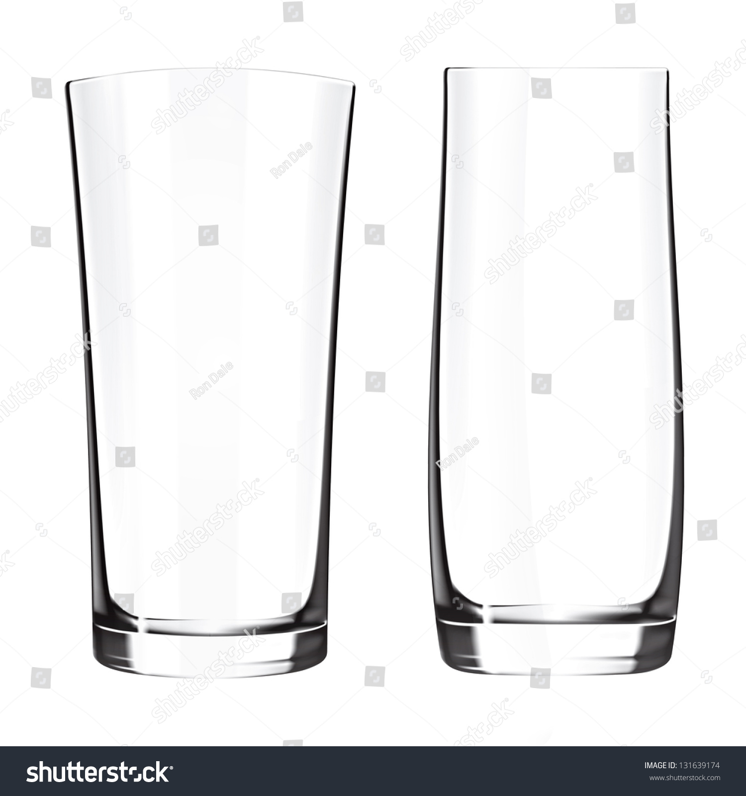 modern empty drinking glasses cup isolated stock illustration  - modern empty drinking glasses cup isolated on white background glass vase