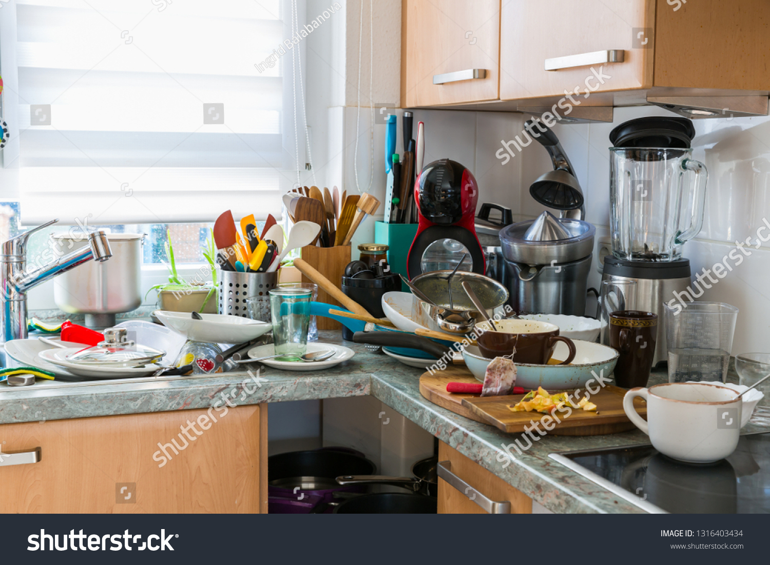 Compulsive Hoarding Syndrom - messy kitchen with pile of dirty dishes #1316403434