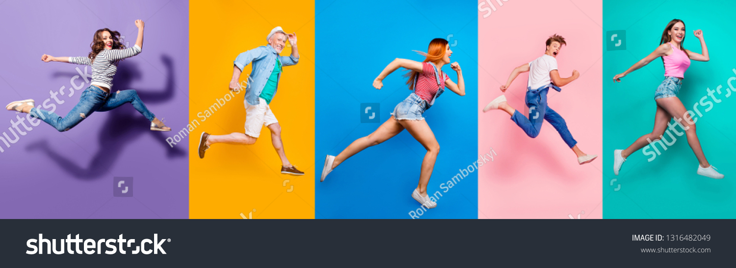 Full length body size view photo portrait collage of running sporty people in striped T-shirt overalls looking in front striving progress active life isolated on bright colorful different background #1316482049