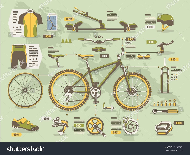 Mountain Bike Info Graphic Elements Stock Vector 131655155