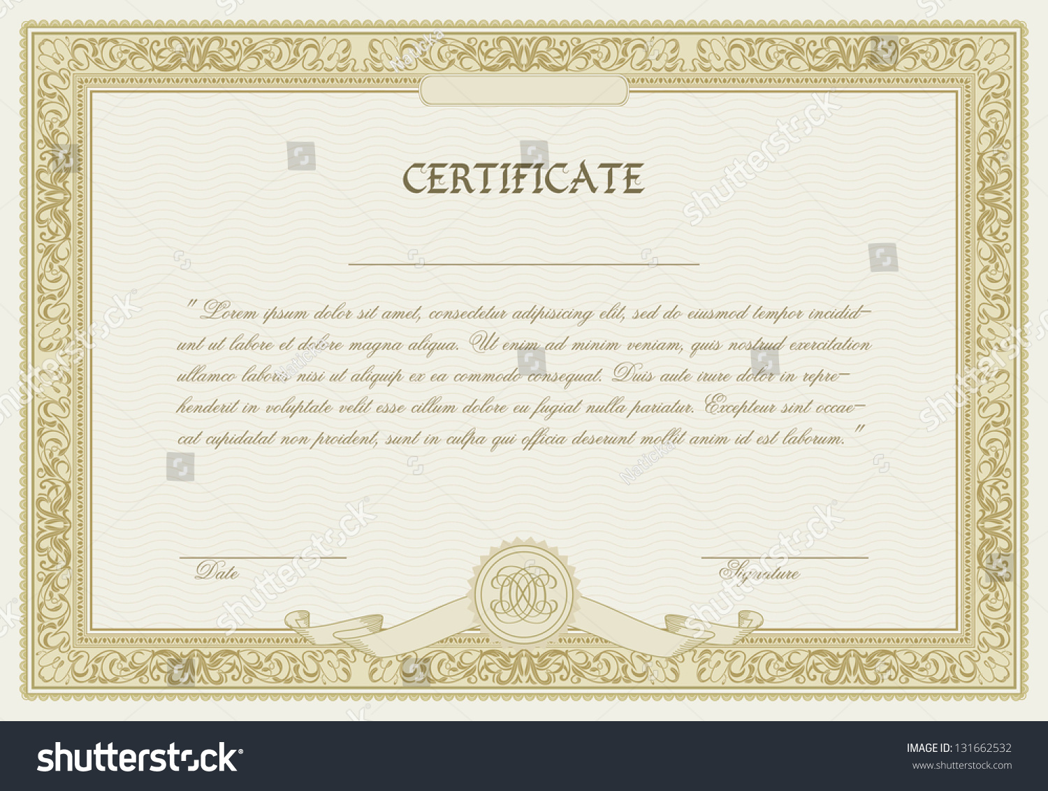 Editable Vector Certificate Template With Ornamental ...