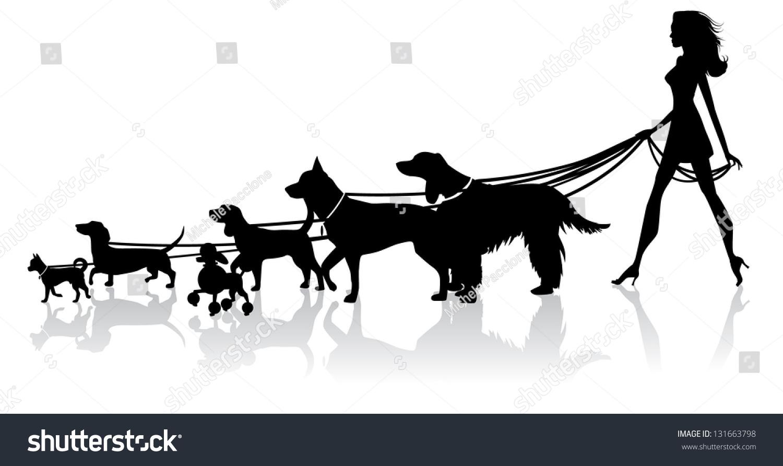 clipart girl walking dog - photo #29