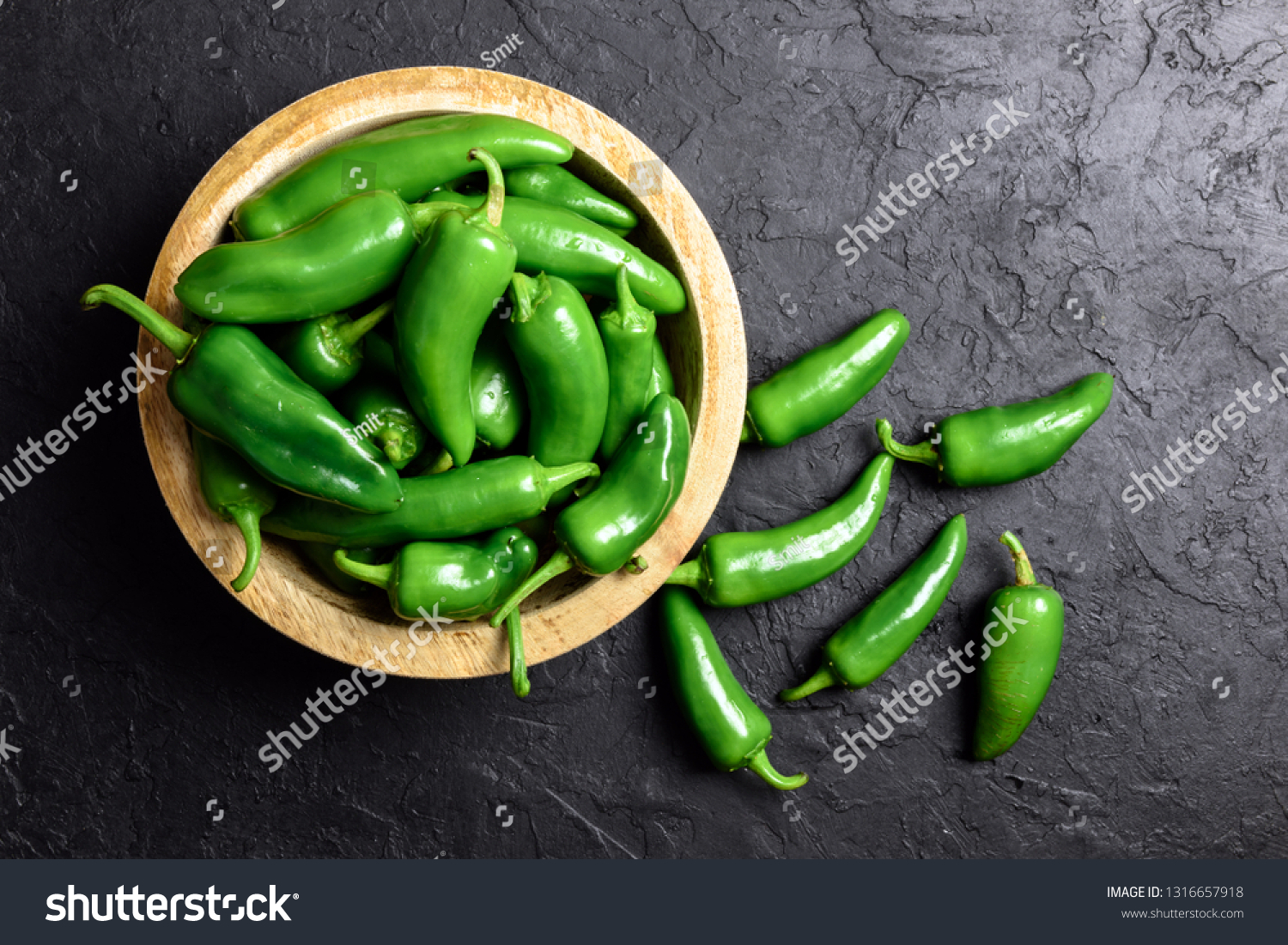 Green Jalapeno Hot Pepper Wooden Plate Stock Photo Edit Now 1316657918