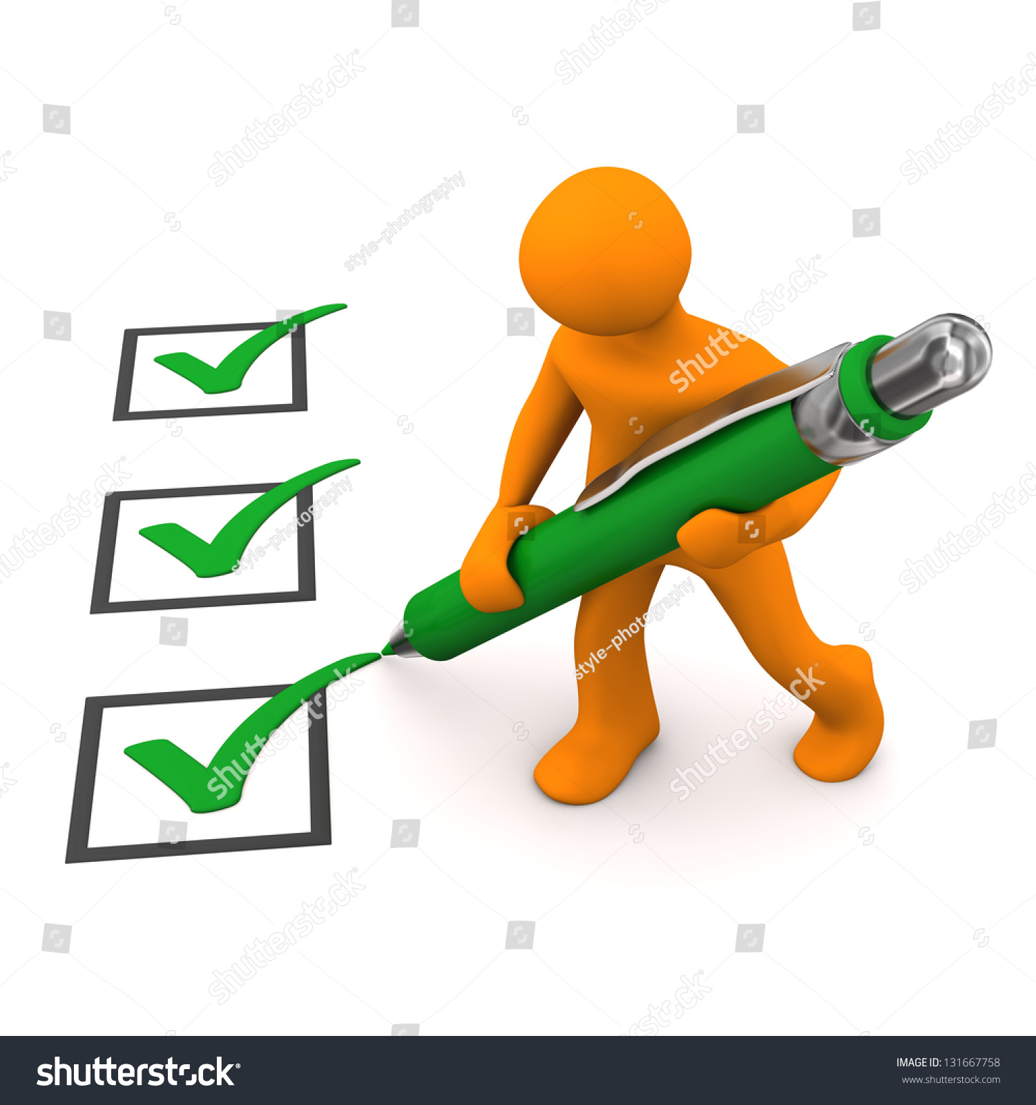 Stock Photo Orange Cartoon Character With Green Checklist And Ballpen on Green Spiral Book