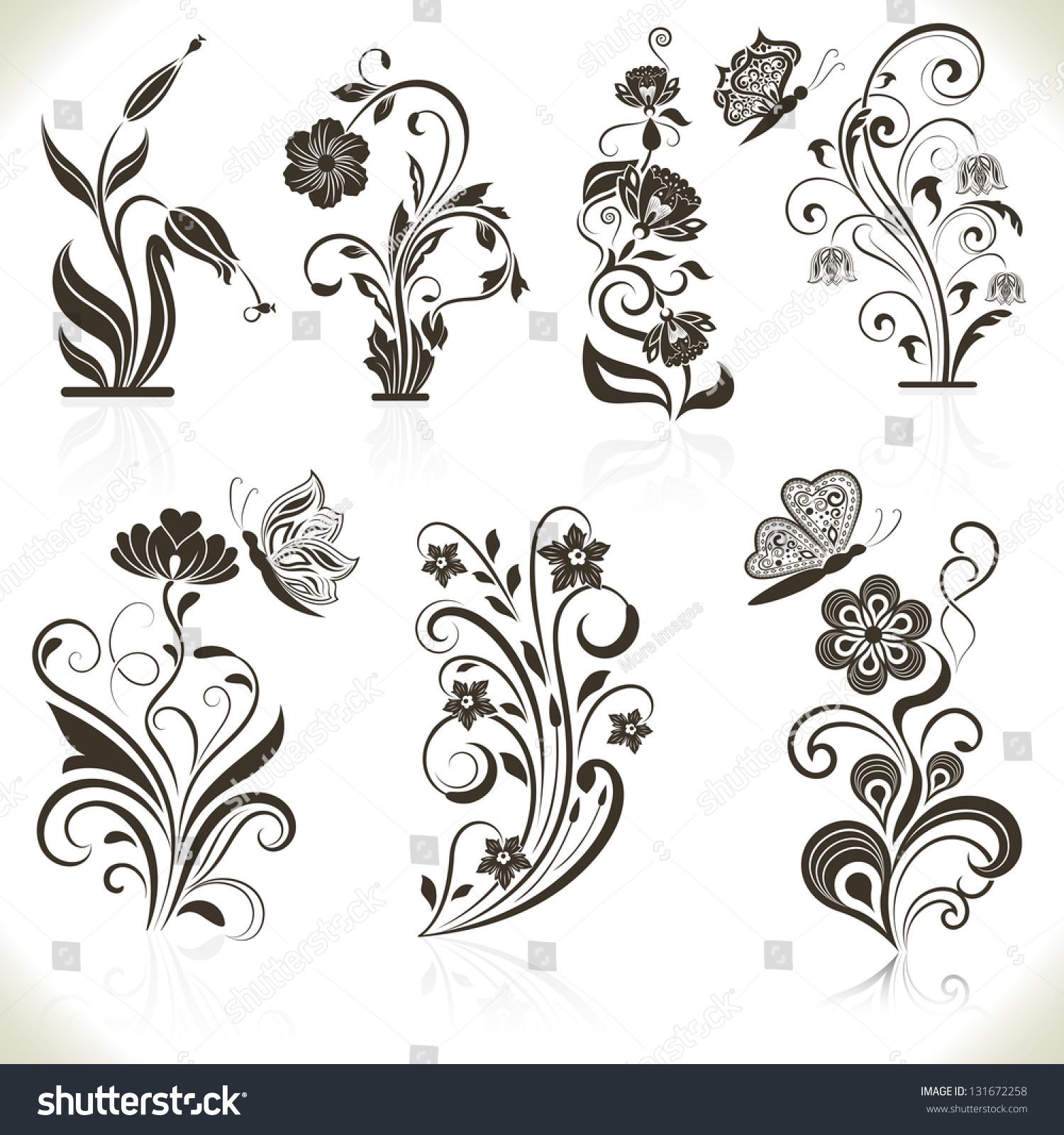 Set Of Black Flower Design Elements Stock Vector: Floral Flower Vector Design Elements Isolated On Aged