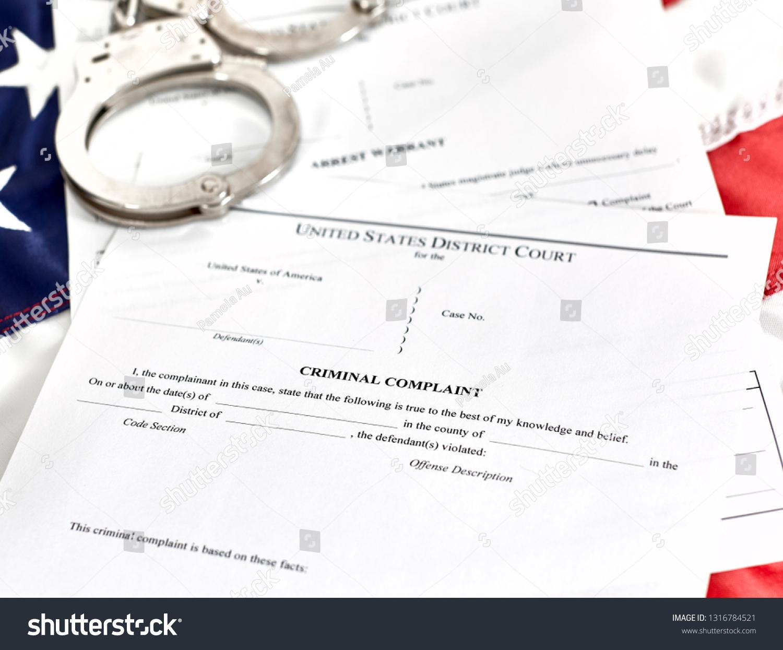 District Court Criminal Complaint Arrest Warrant Stock Photo (Edit