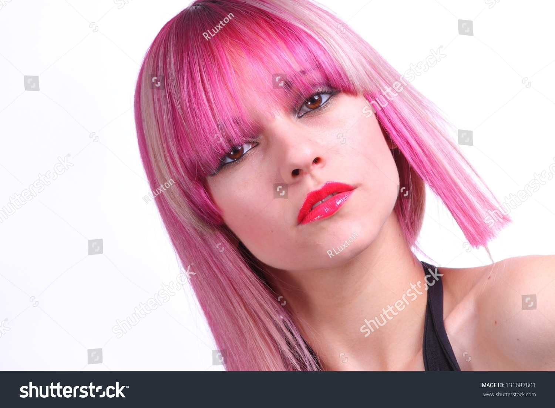 Red Lipstick Brown Hair Blue Eyes: Beautiful Girl With Pink Hair, Red Lipstick And Brown Eyes