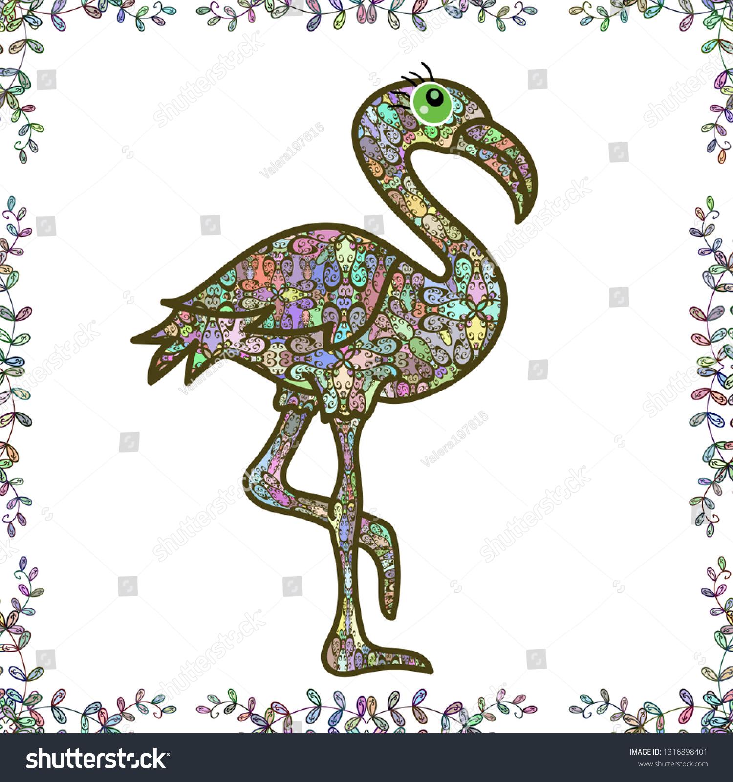 Animal Cute Nature Fauna Illustration Seamless Pattern Cartoon Neutral White And Green Colors Flamingo Set Nice