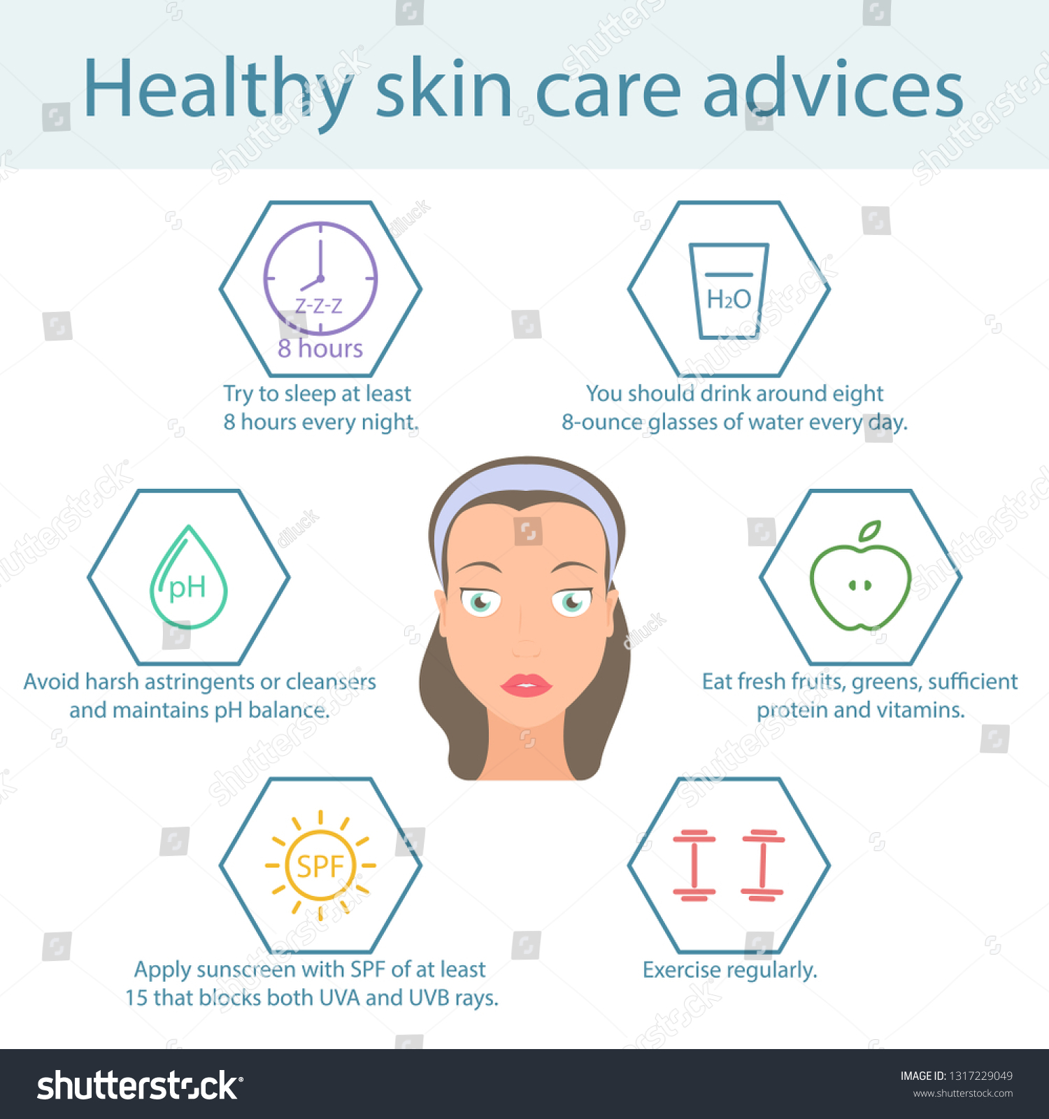 Tips Skin Care Face Care Healthy Stock Vector (Royalty Free