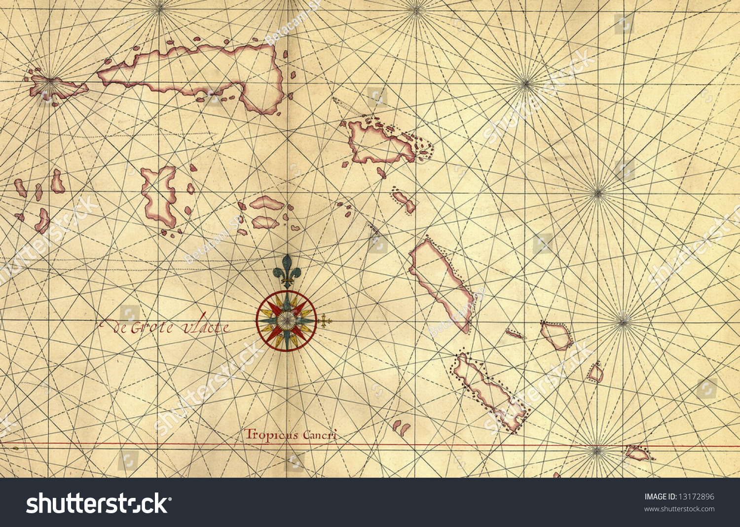 Old Map And Compass Ro...