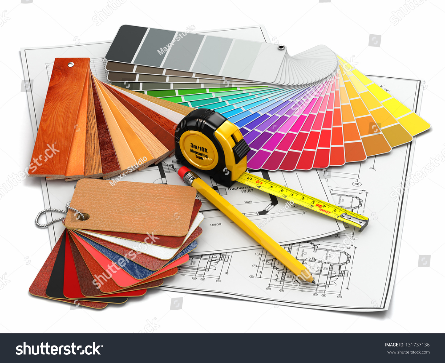 interior design architectural materials measuring tools