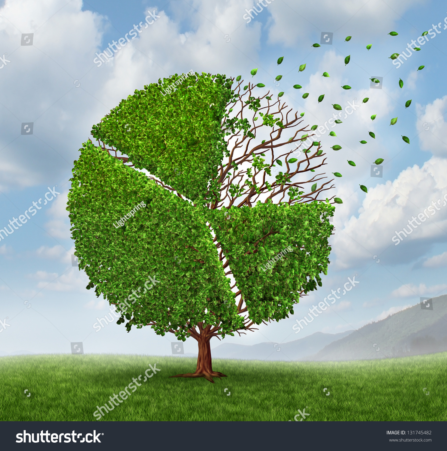 Finance Tree: Losing Market Share Pie Chart As A Growing Green Tree With