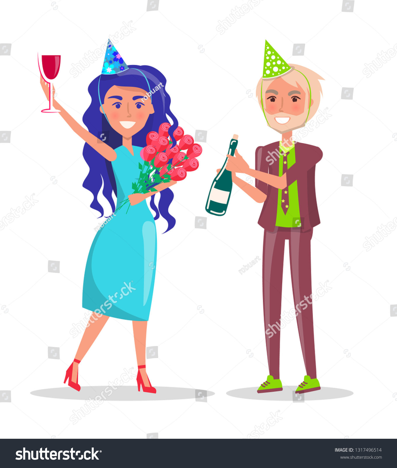 Woman Festive Hat Bouquet Flowers Cocktail Stock Vector Royalty Free 1317496514