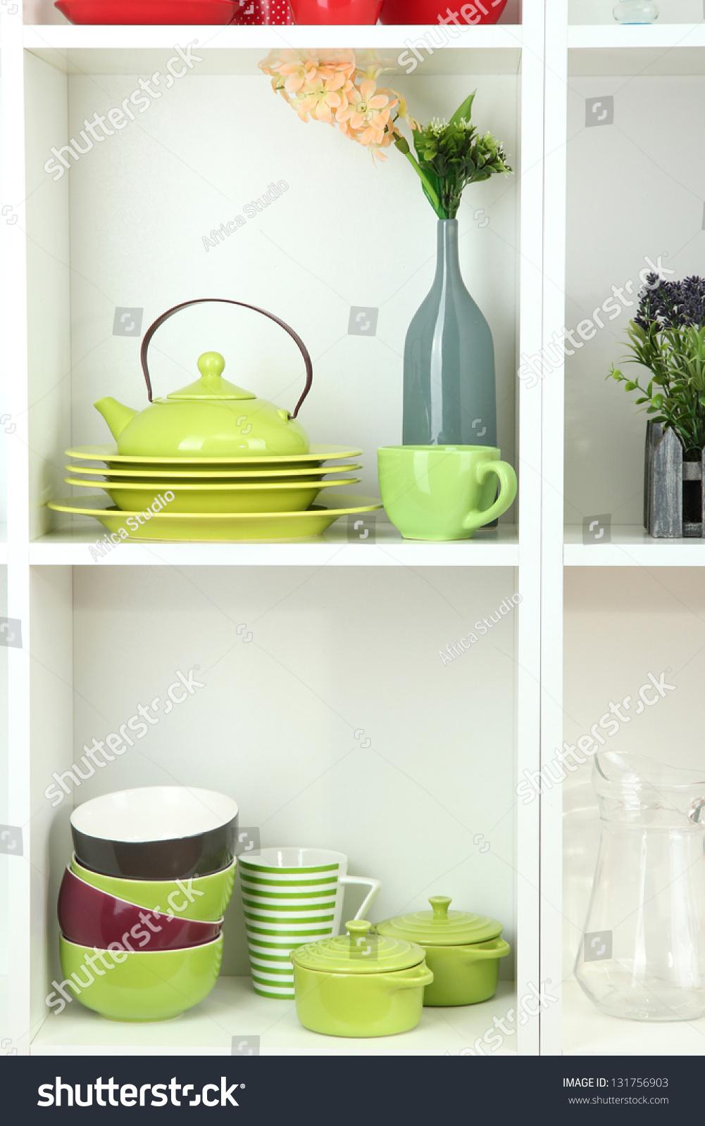 Beautiful white shelves with tableware and decor stock photo 131756903 shutterstock - Beautiful photoshelves ...