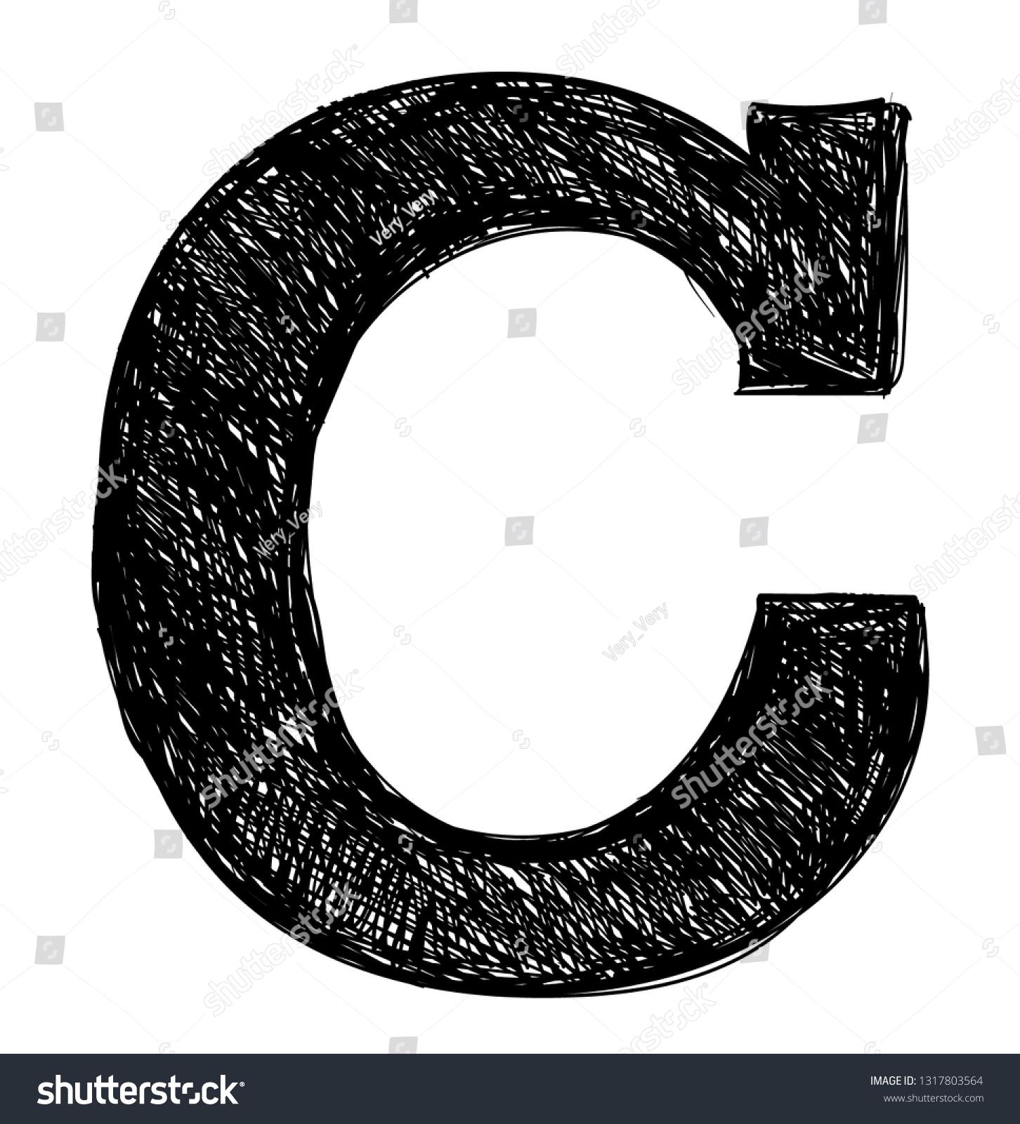 Letter c pencil sketch black color stock vector royalty
