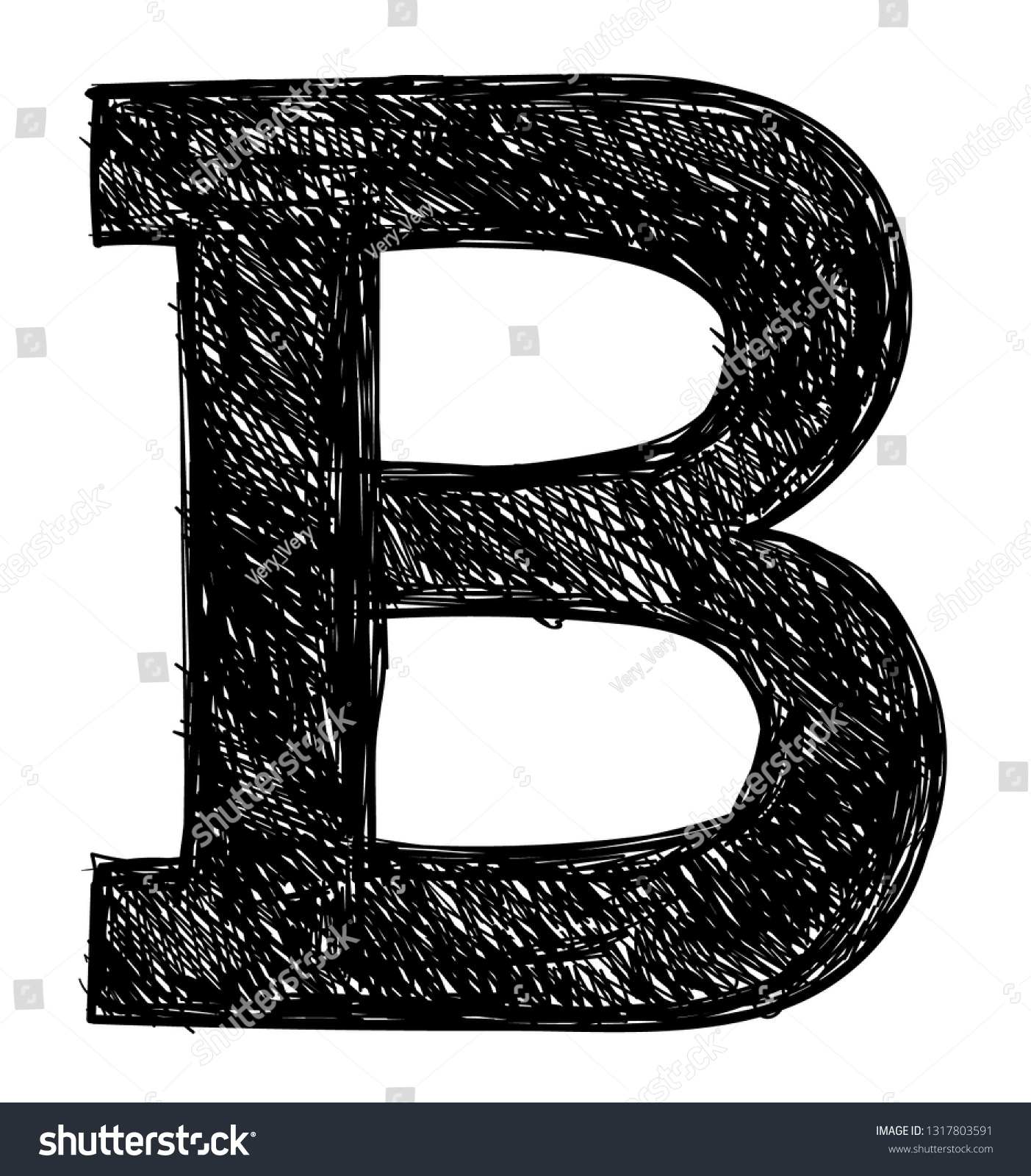 Letter b pencil sketch black color stock vector royalty