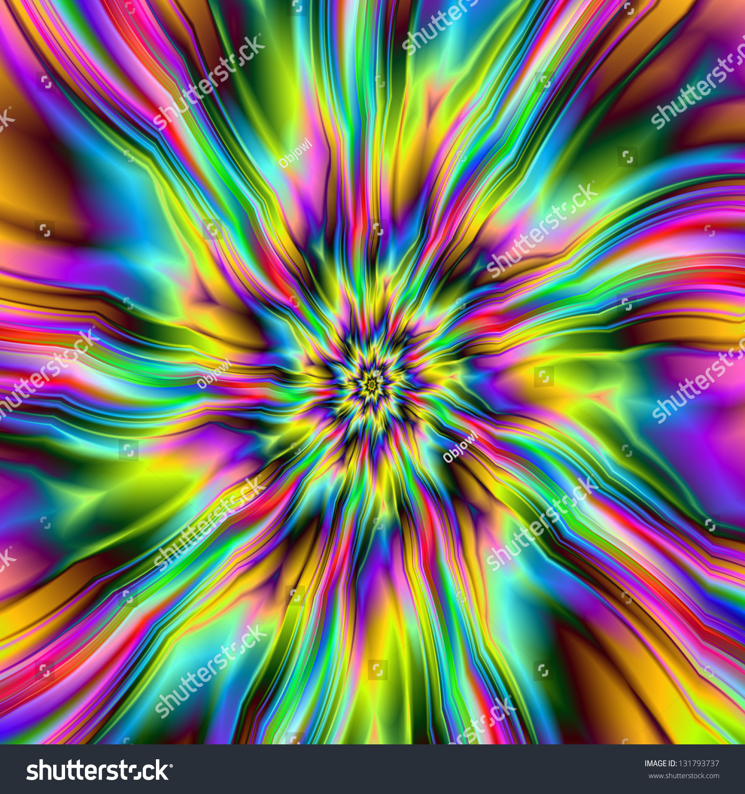Psychedelic Supernova Digital Abstract Fractal Image Stock ...