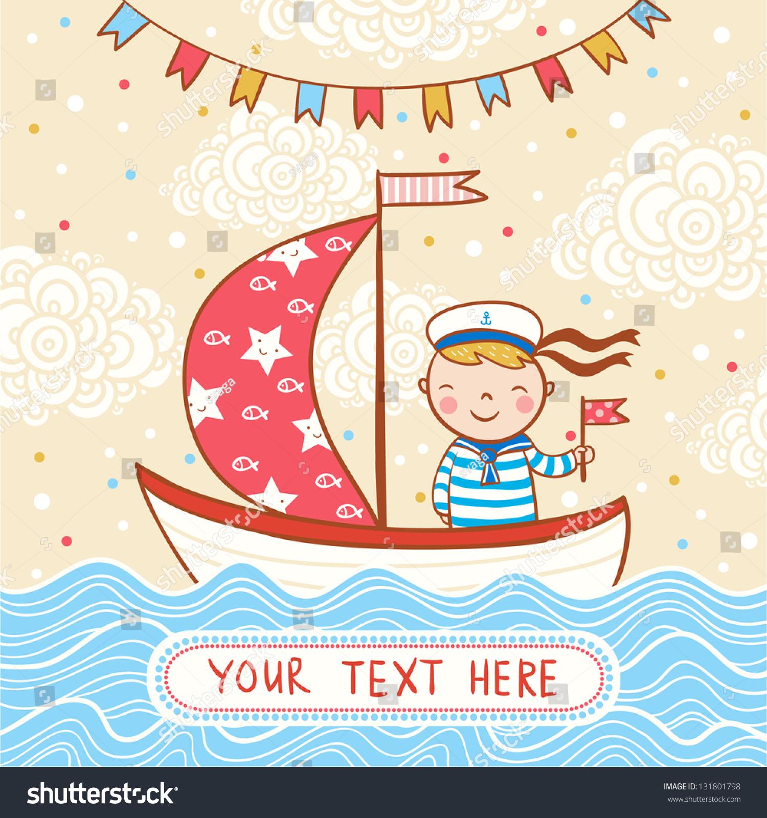 Beautiful happy birthday greeting card boy stock vector 131801798 beautiful happy birthday greeting card with boy ship and sea vector party invitation kristyandbryce Image collections