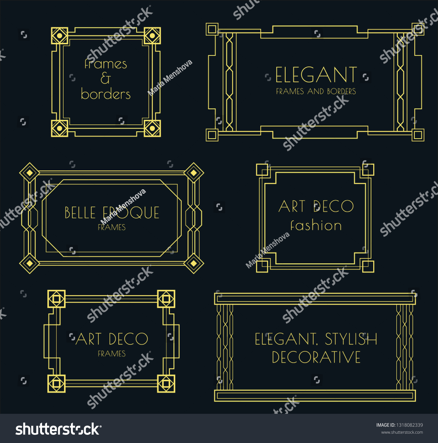 Set Art Deco Stylish Vector Frames Stock Vector Royalty Free