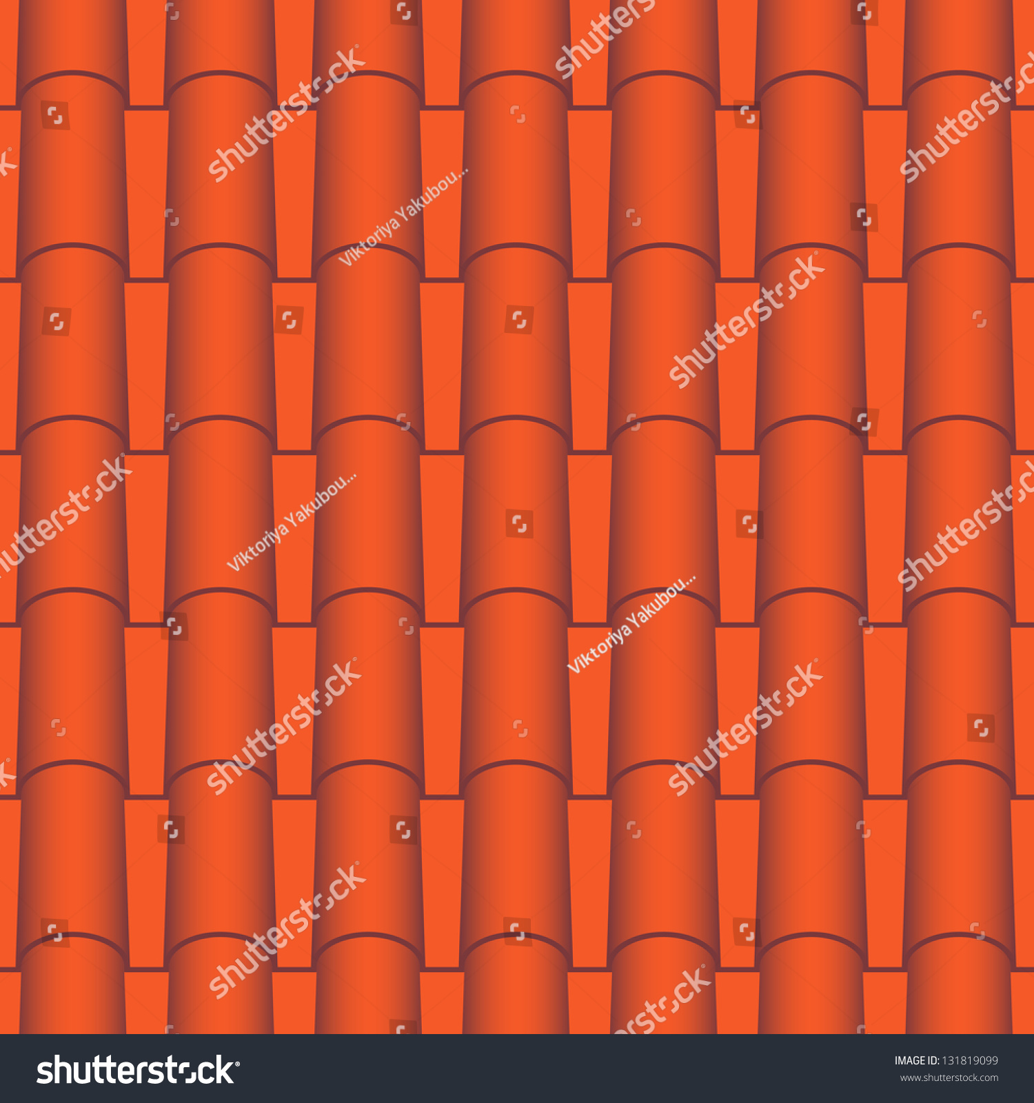 Red Roof Tiles Seamless Vector Texture 131819099