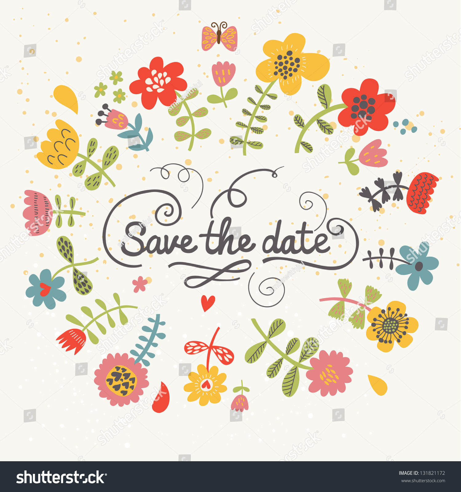 Save The Date Wedding Floral Ornament Wedding Floral: Save Date Cute Floral Bright Wedding Stock Vector
