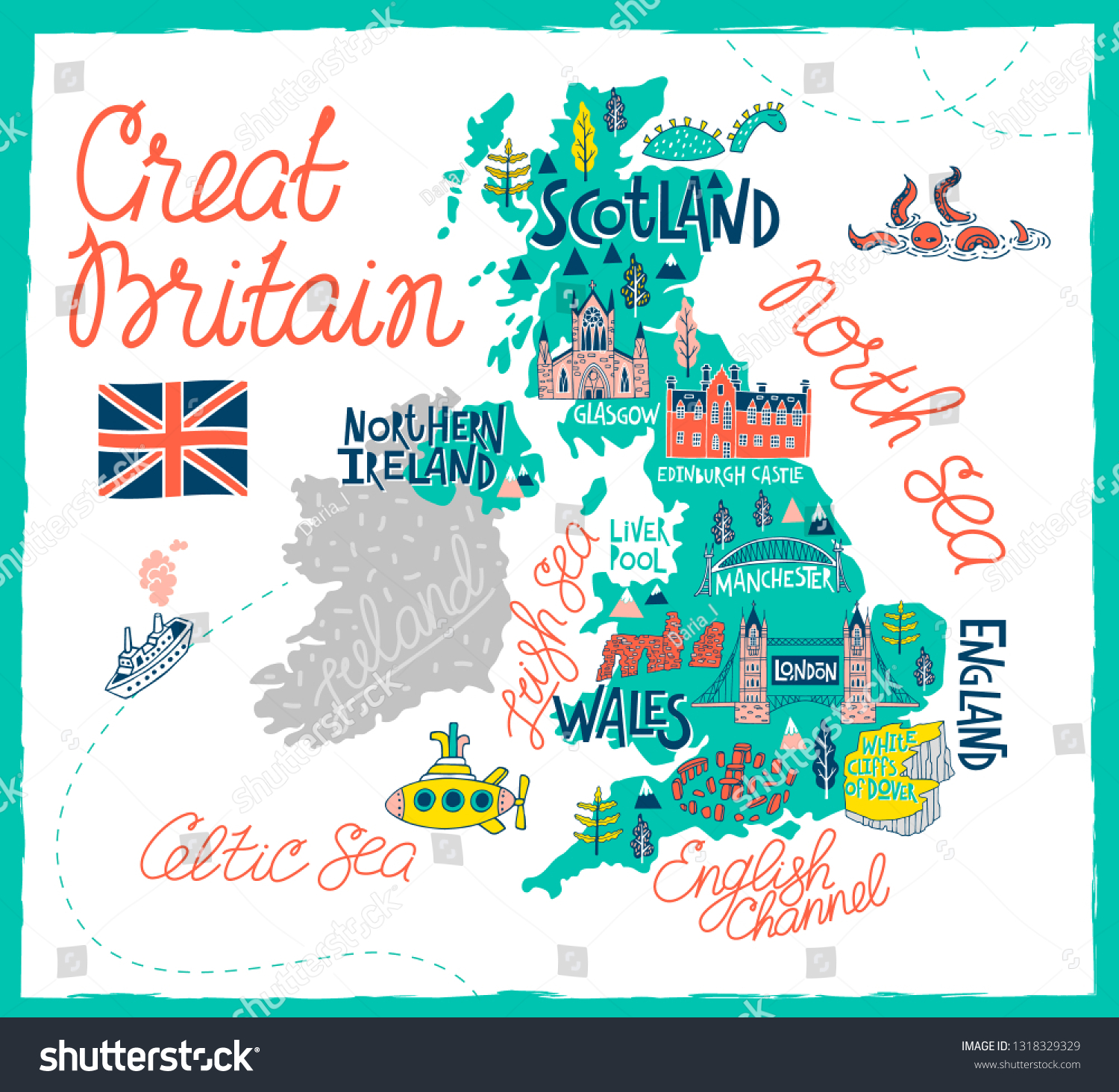 Tourist Illustrated Map Great Britain Travel Stock Vector Royalty Free 1318329329