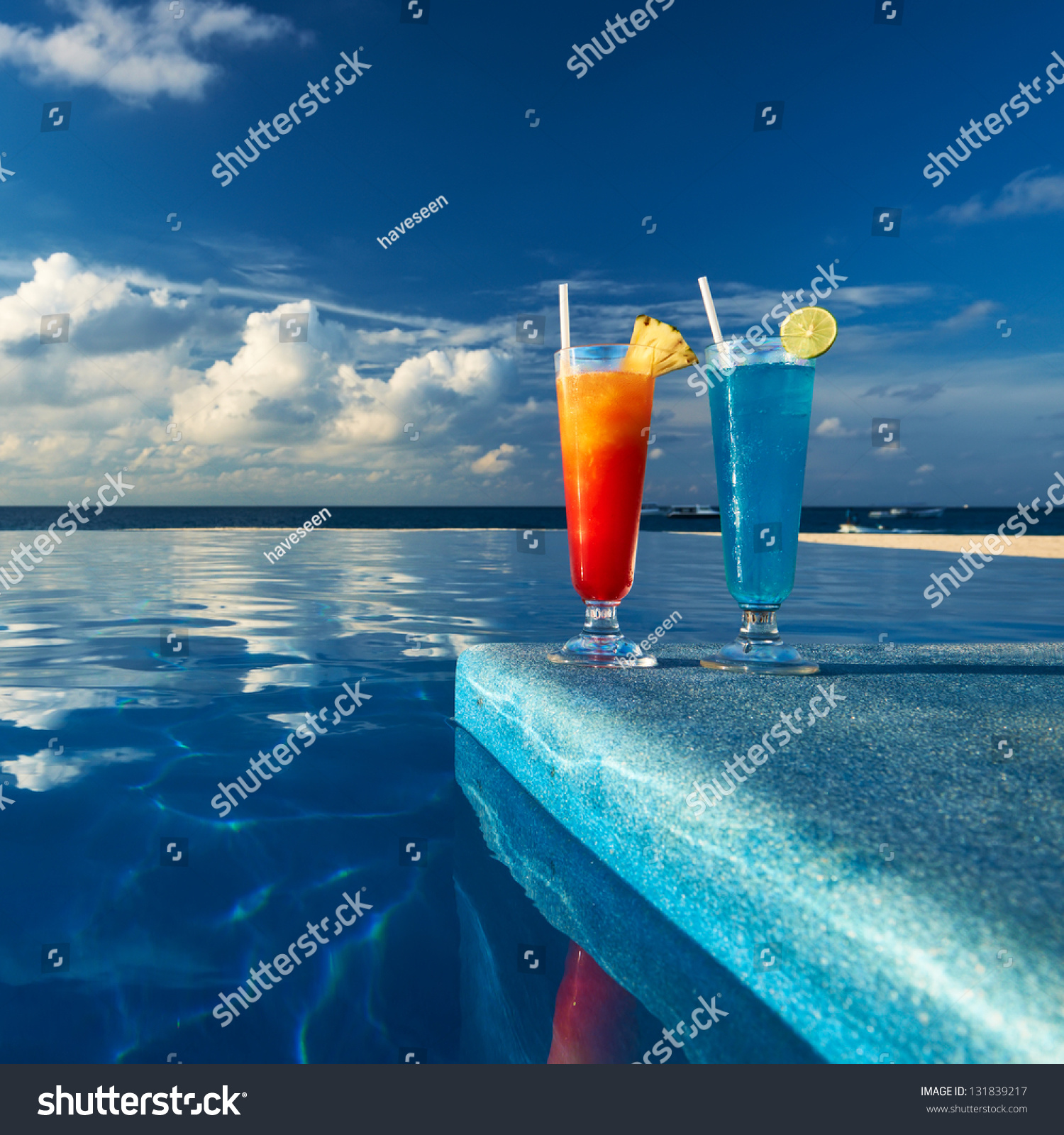 Cocktails Near The Swimming Pool Stock Photo 131839217 Shutterstock