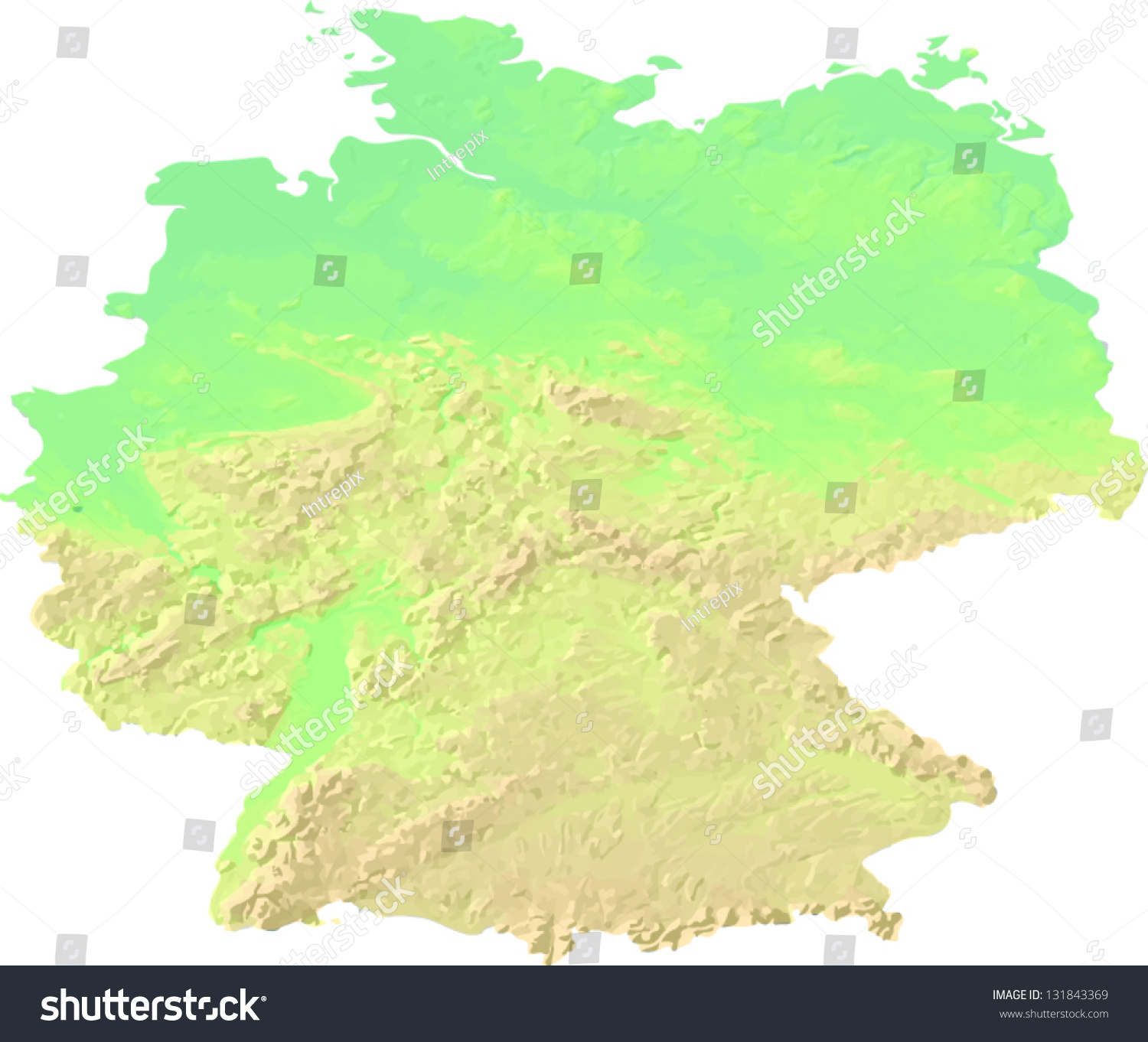 a map showing the land topography of germany with shaded relief and hypsometric tints on different