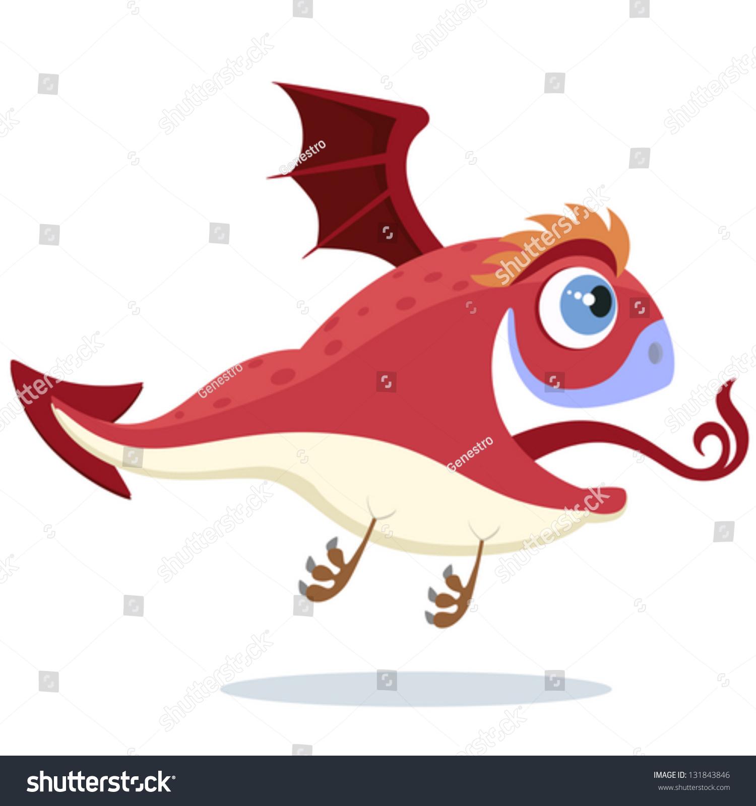 Flying Red Little Dragon Stock Vector 131843846 - Shutterstock