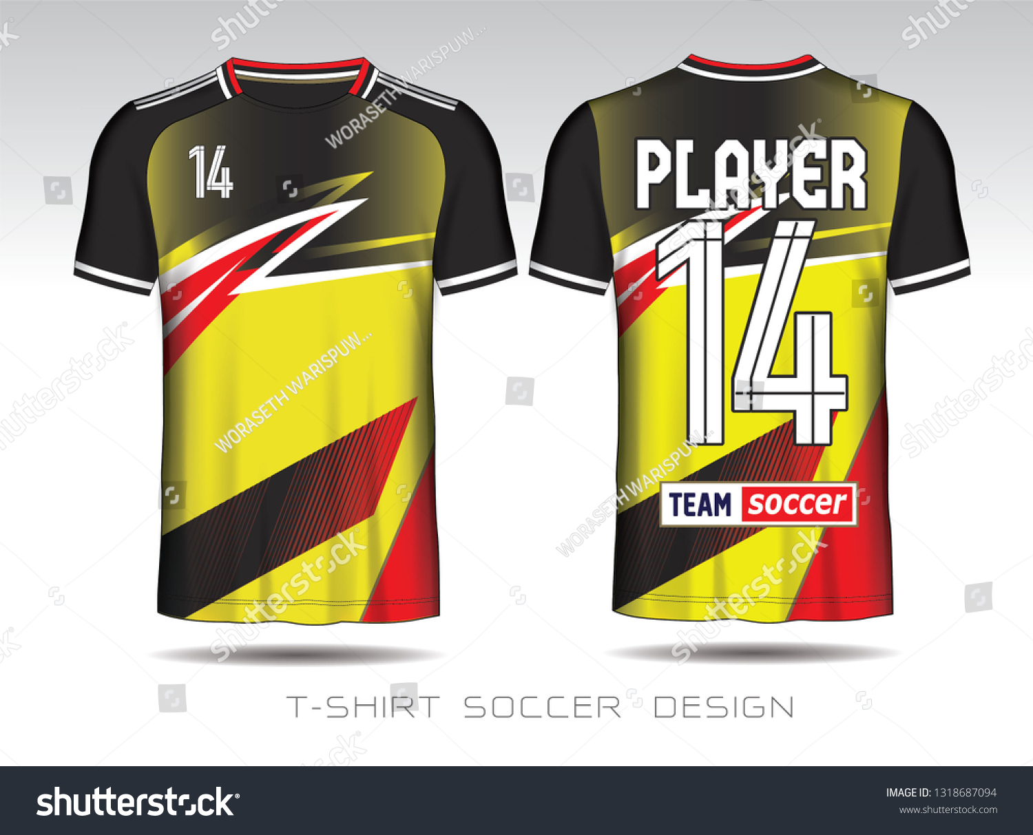370521fe2 Soccer jersey template. Yellow and Black red layout football sport t-shirt  design. Soccer kit national team shirt mock up.