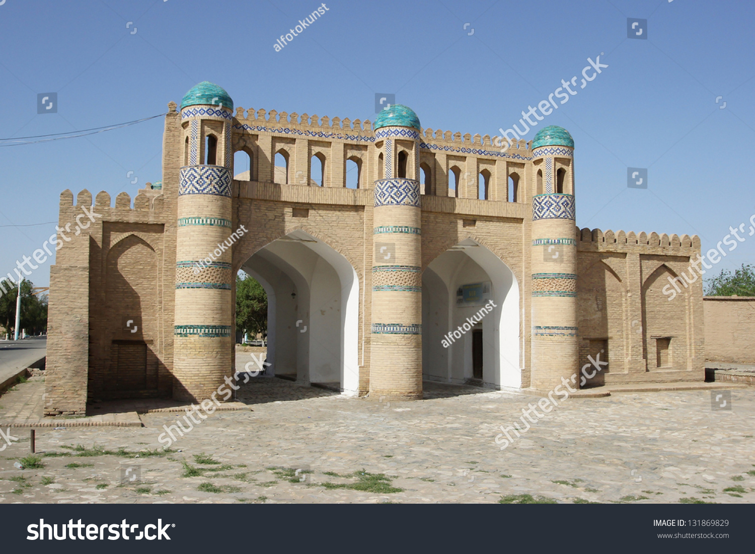 gate to the ancient city of khiva silk road uzbekistan central asia stock photo 131869829. Black Bedroom Furniture Sets. Home Design Ideas