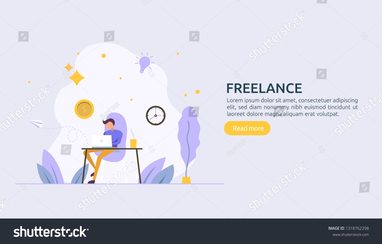 Freelance Concept Freelancer Teleworking Remote Work Stock