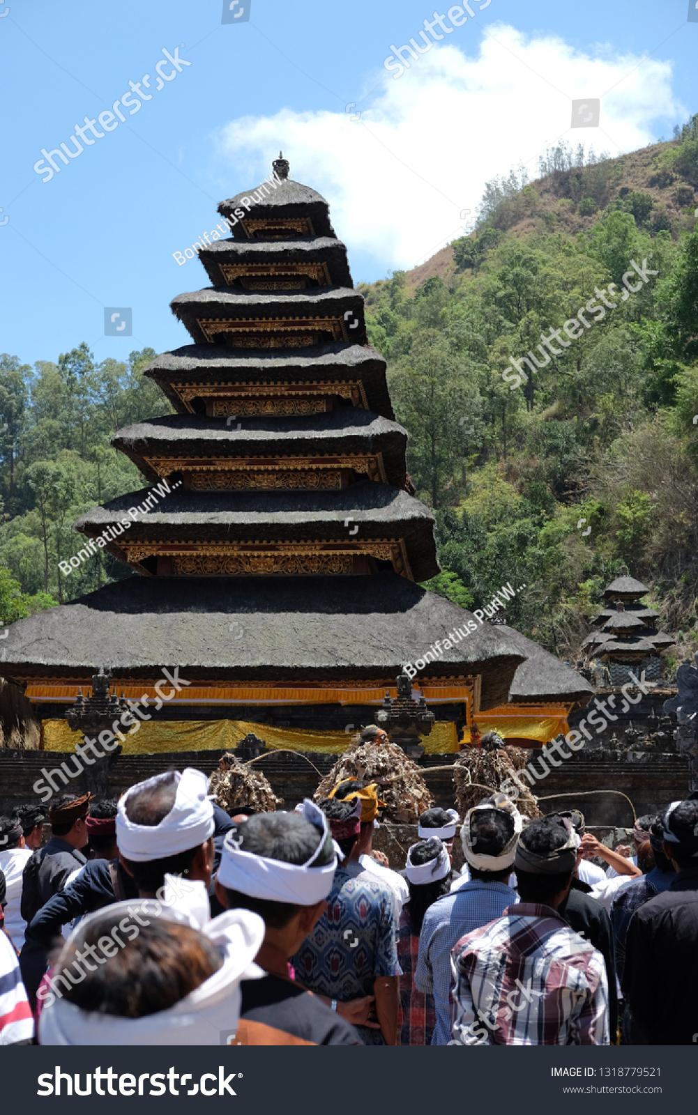 Balinese People Watching Barong Brutuk Ancient Stock Photo